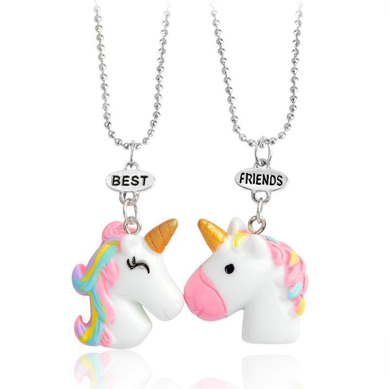 2Pcs / Set Pendentif Cheval Collier chaîne Meilleurs amis des animaux Collier Keychain Porte-clés pour amis BFF Bijoux cadeau pour les enfants