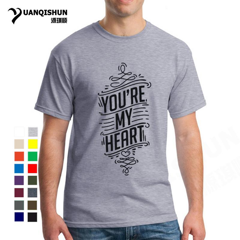 sport Top Quality 16 Colors Cotton T Shirts You're My Heart Your Are My Soul Couple Clothes Printed Tee Tops Hot Sale Fashion T-shirt