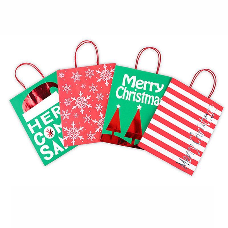 Рождественские подарочные пакеты Santa Christmas Tree Kraft Paper Bag Портативный ручки Мерри Кристмас чехол для хранения AHA1719