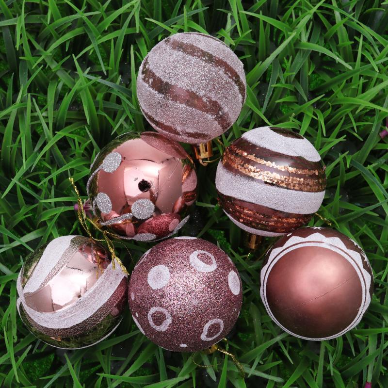 Parti Balo Balo Rose Gold Modeli için Dekorasyon Noel Ağacı Süsler Asma 24Pcs 6cm Noel Toplar