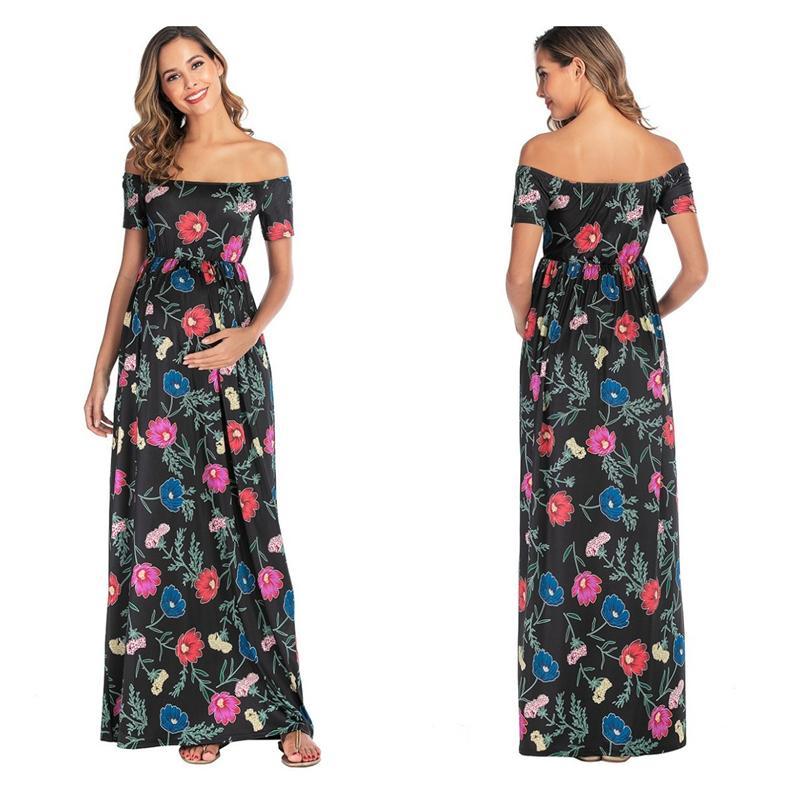 2020 Летняя Одежда для беременных Мода беременных женщин Shoulderless Макси платья мама с коротким рукавом Повседневная Цветочные Printed Sundress C1021