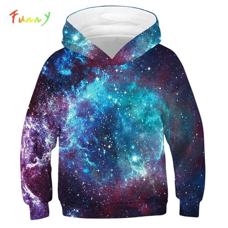 Space Galaxy 3D Stampa Kids Hoodie Felpa Fashion Manica Lunga Felpe con cappuccio Ragazzi Ragazze Sport Indossare Felpa con cappuccio Felpa per bambini Pullover Tops Y200831