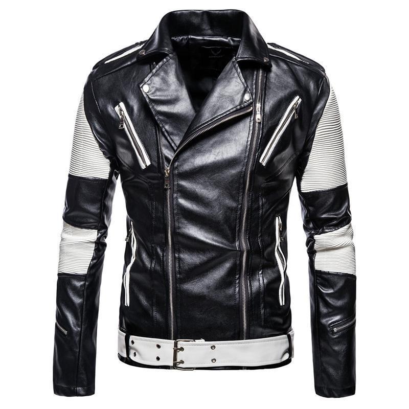 2020 새로운 패션 남성 가죽 재킷 코트 멀티 지퍼 패치 워크 오토바이 가죽 자켓 남성 슬림 맞춤 펑크 재킷