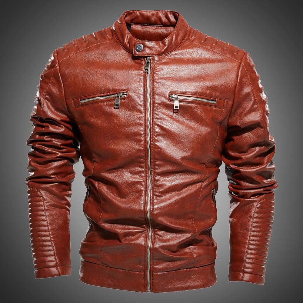 Ceketler Erkekler Standı Yaka Pileli Tasarım Kahverengi Motosiklet Ceket Erkekler Biker Ceket Ve Mont Fermuar Slim Fit Ceket Sonbahar Kış PU 201104