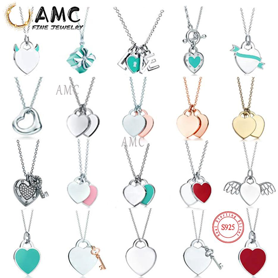 AMC tiff necklace 925 silver pendant necklace female jewelry exquisite craftsmanship official logo classic blue heart necklace