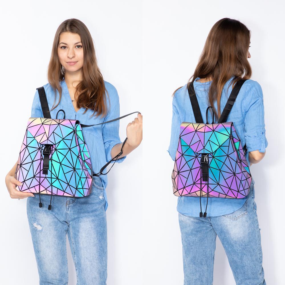 Les femmes de crossbody pliable pour dames set 3 pièces de bourse sac géométrique Voyage couleur lumineux sac à dos 201015
