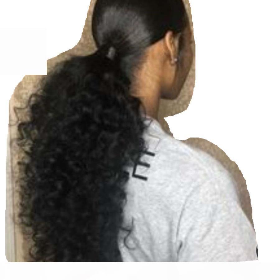 Longue cordon bouclé bouclés de cheval de queue humaine, la plupart des coiffures de queue de cheval totalement gratuites pour les femmes noires pleines naturelles 160g