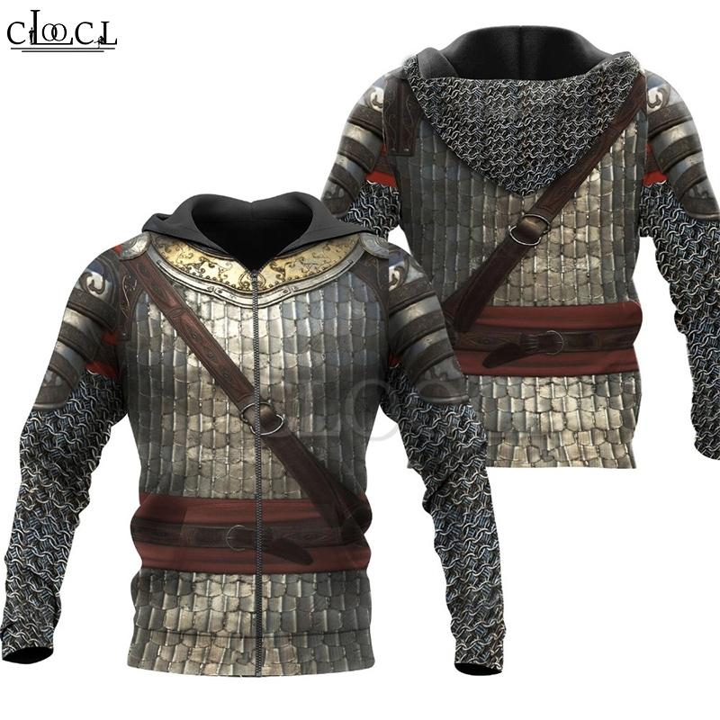ClOOCl Ketten Ritter Mittelalterliche Rüstung 3D-Druck Männer Hoodie Harajuku Art und Weise T-Shirt Unisex Jacke Cosplay Hoodies 201021