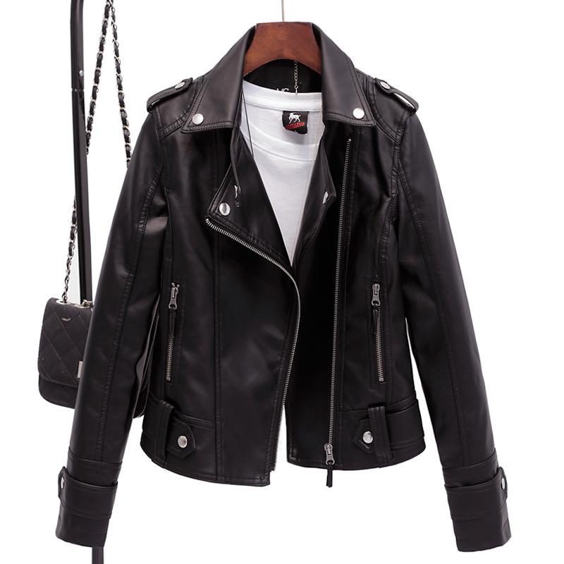 Jaquetas Moda Jacket Motorcycle Casual é lavado Brasão de couro PU suave fêmea magro Mulheres Roupa Mulher