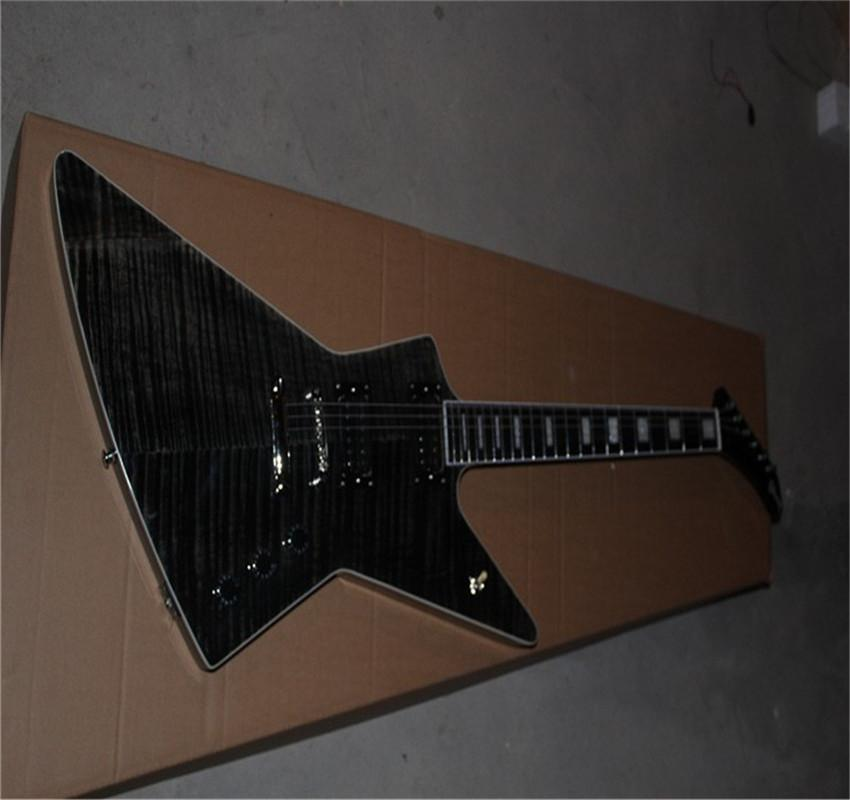 Free shipping High Quality new Electric Guitar Black Alien Active Pickups guitar pearl blocked ebony fingerboard