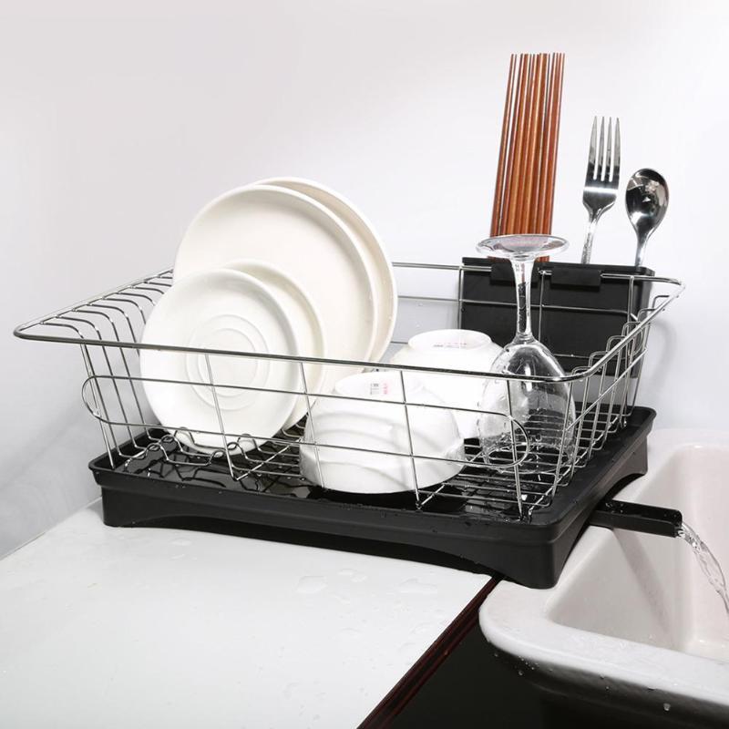 Plato de acero inoxidable Escurridor secado Panel de cocina del sostenedor del organizador del almacenaje cesta