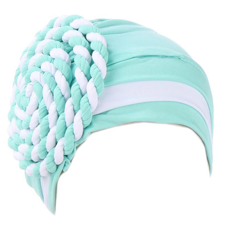 2020 Frauen Muslim Pre-Gebunden Turban-Hut Side Verdrehte Braid Beanies Headwrap Color Block Stripes Plissee Chemo Cap C6UD