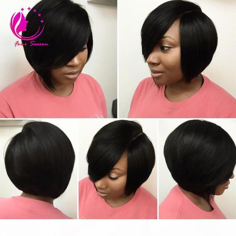 Необработанные слоистые девственницы человеческие волосы короткие боб парик для черных женщин Безлистые кружевные фронт человеческие волосы боб парики с боковыми челками Freeshiping