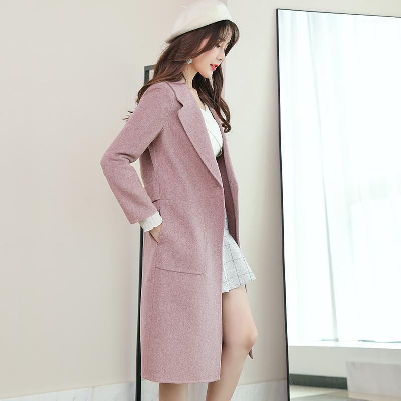 Lana otoño abrigo de invierno mujeres doble cara chaqueta larga elegante rompevientos abrigos mujer invierno 2020 fx66298 yy10151