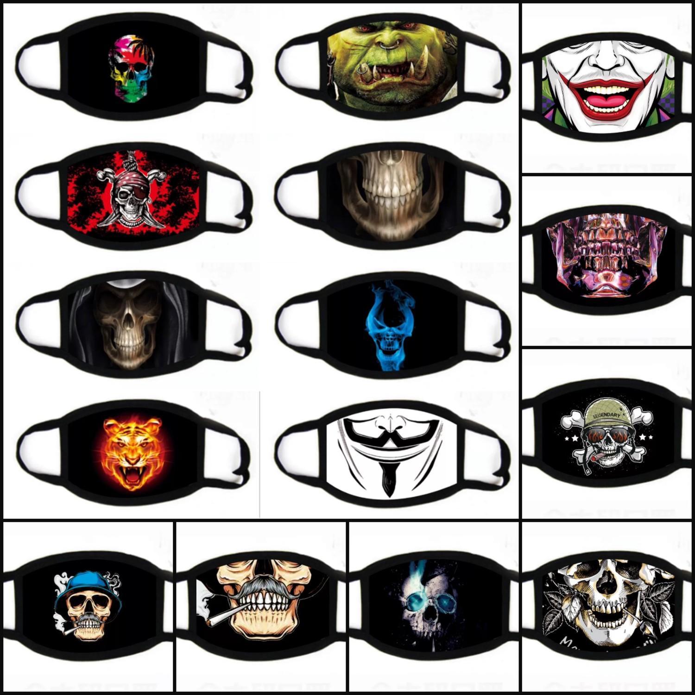 100pcs DHL 31styles máscaras de cara de Halloween 3D Digital cráneo de impresión a prueba de polvo pretective máscara de la máscara del partido lavable decorativo dibujos animados
