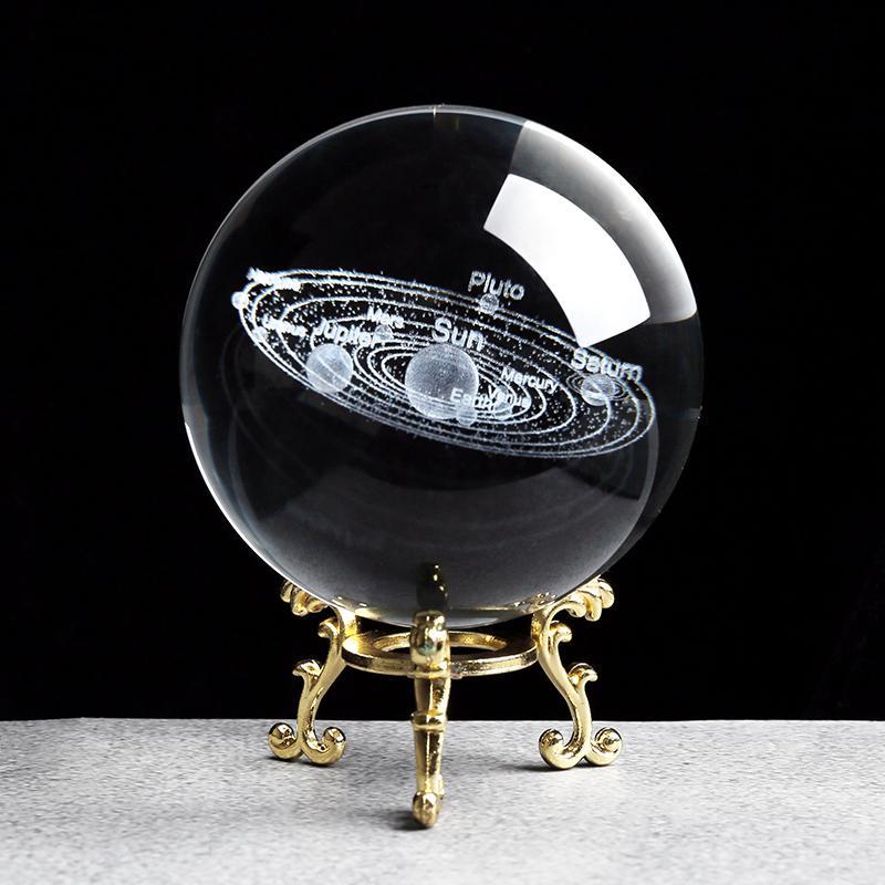 Sonnensystem Miniaturen Figuren 3D Planeten Modell Kugel Feng Shui Kristall Kugelschreibtisch Dekoration Wohnkultur Geschenk für Feiertag Y200106