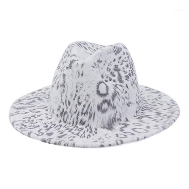 Широкие шляпы Brim Fedora Whooded взрослые женщины мужские леопардовые многоцветные печати зима осенняя старинная роскошь Leopard1