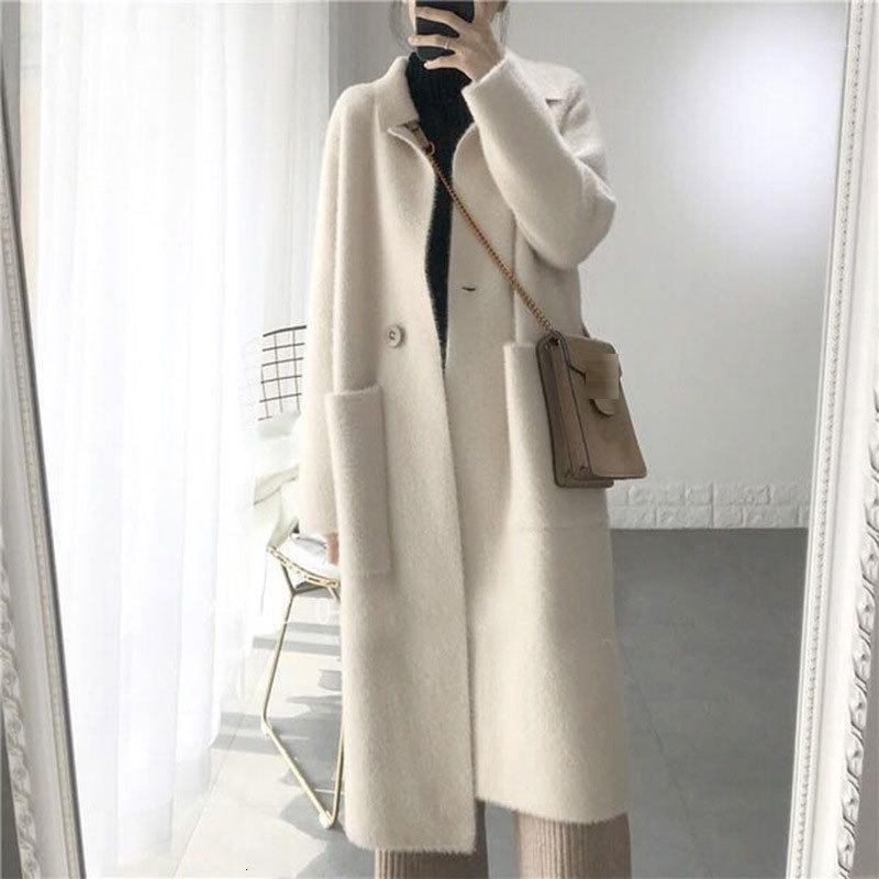 2019 Winter Women Wool Cashmere Sólido Solicado Abrigo Chaqueta Mujeres Woolen Simple Abrigo Elegante Lady Blend Abrigos Cardigan Ropa 1