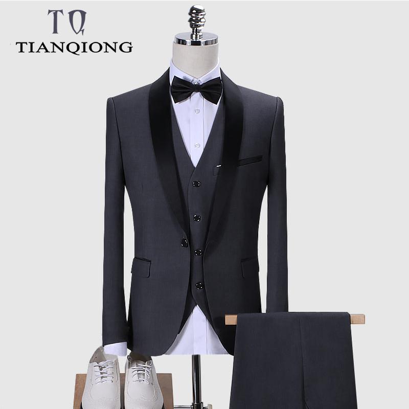 Vermelho preto terno homens 2019 fina fita noivo fatos de casamento para homens elegante marca xaile colar formal negócio vestido ternos QT988 T200303