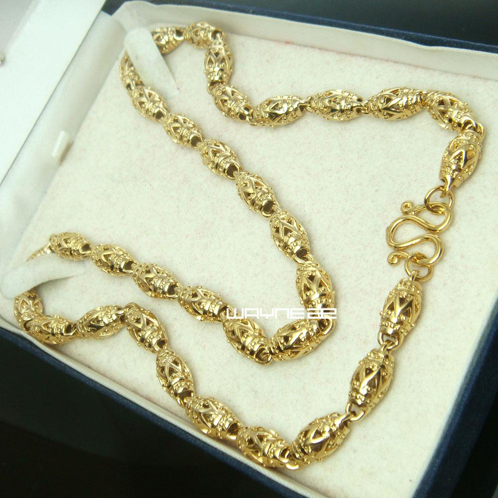 n300- 50cm Length18K Gold füllte kühle hohle Kettenmänner Halskette 7mm