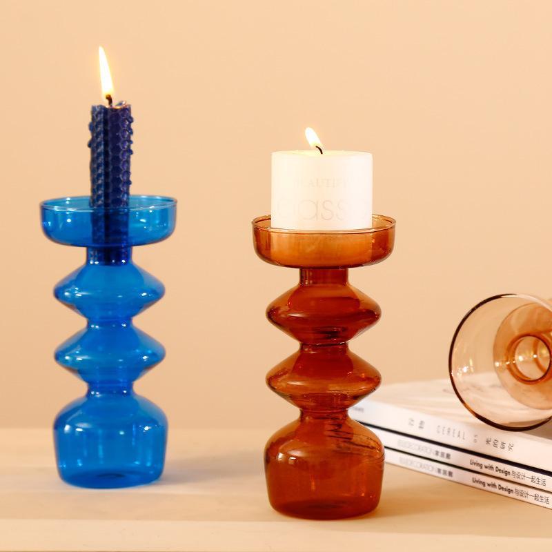 Porte-bougie conique Titulaire de chandelier en verre pour la décoration de Noël Partie de mariage et à la maison Décor Vase LJ201204