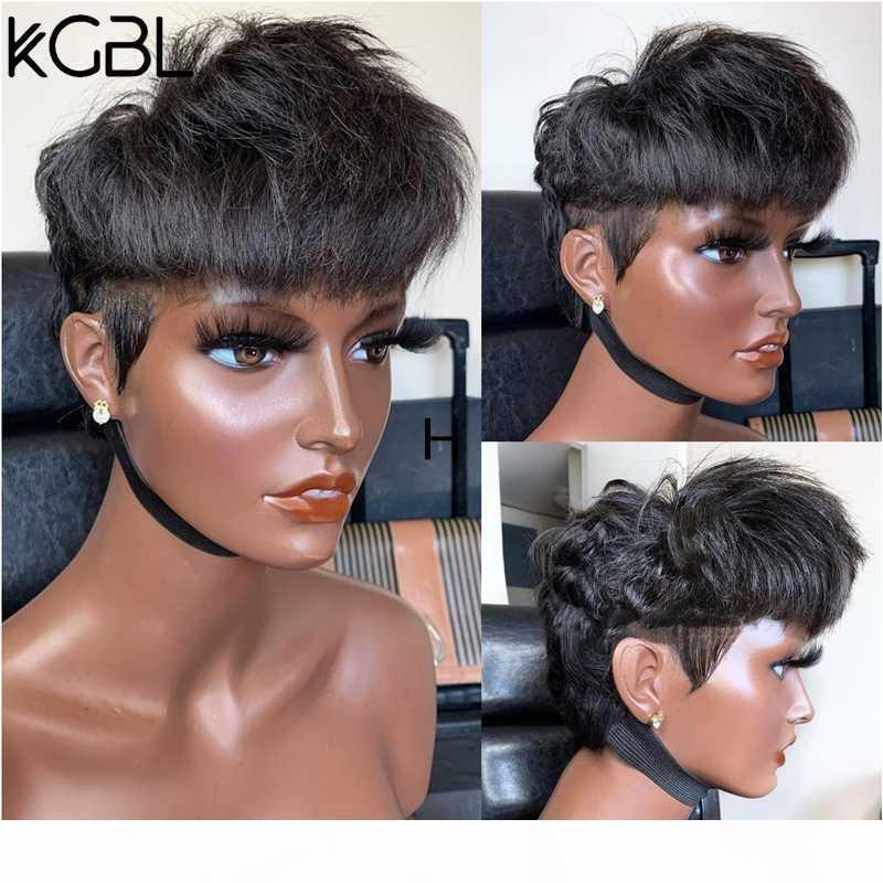 KGBL 13 * 4 Pixie Kesim Dantel Ön İnsan Saç Peruk 8 Inç 150 180 Yoğunluk ile Bebek Saç Brezilyalı Olmayan Remy Peruk Siyah Kadınlar için