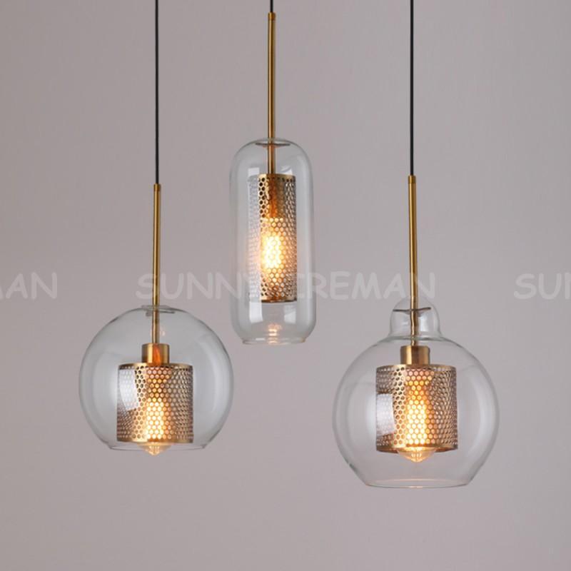 Loft Modern Light Light Bola de Vidro Pendurado Lâmpada Cozinha Cozinha Luminária Luminária Luminária Luminária Sala de estar Luminária Candelabros