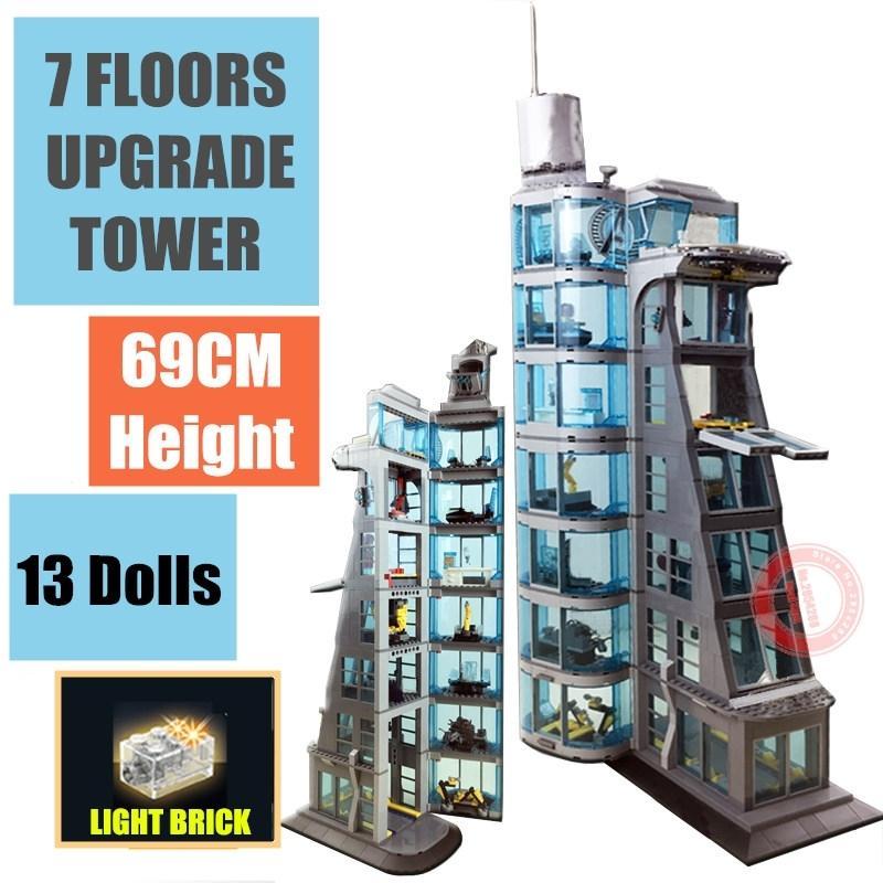 NOUVEAU UPTÉRADAD 7 étages Super Iron Heroes Starks Industrie Giant Tower Homme Figurines Streetview Bâtiment Briquet Brique Kid-cadeau Jouet LJ200928