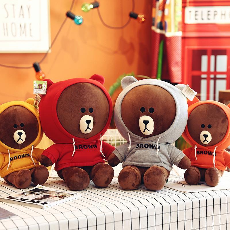 Simulazione maglione marrone orso peluche bambino sveglio bambola di alta qualità comodo cuscino e software hold