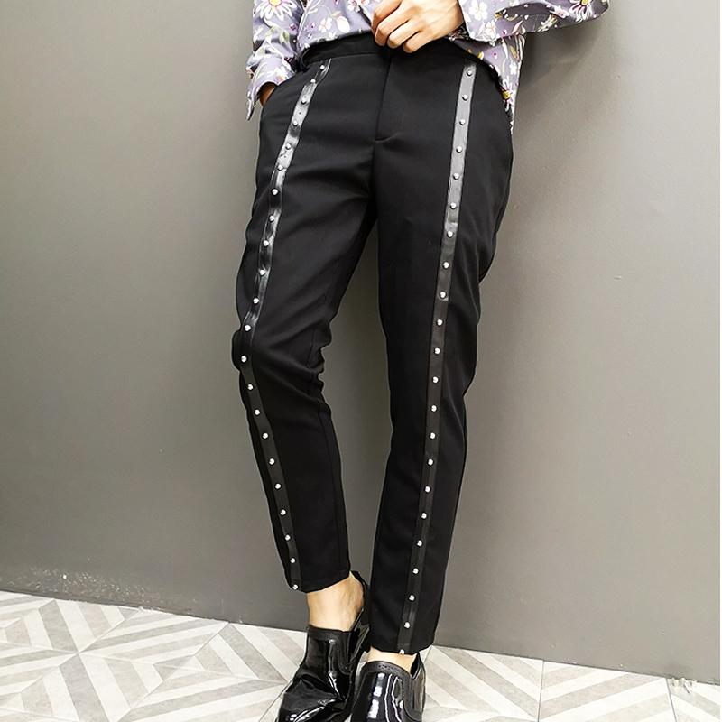 Fashion Rivet Pencil Trousers Night Club Singer Stage Clothing Men Streetwear Hip Hop Punk Gothic Casual Black Harem Pants Male 1109