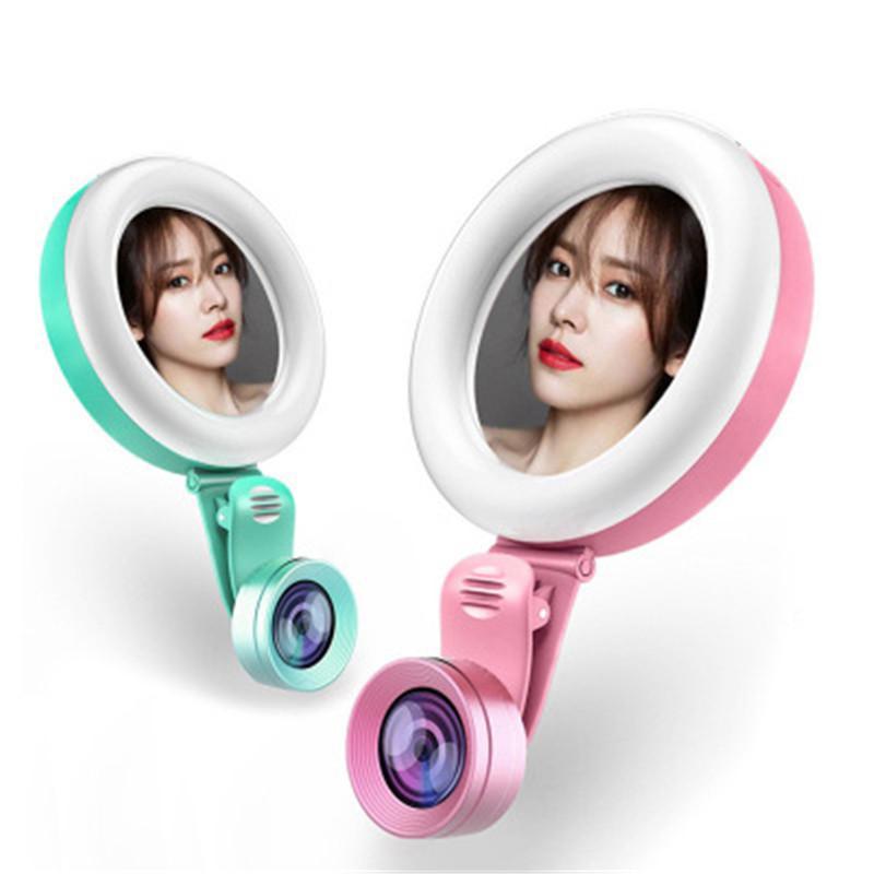 Mini portable selfie Anneau LED Lumières avec miroir et 2 en 1 Objectif 3 Modes Luminosité Remplissage Outils Lumière Beauté pour Smart Phone