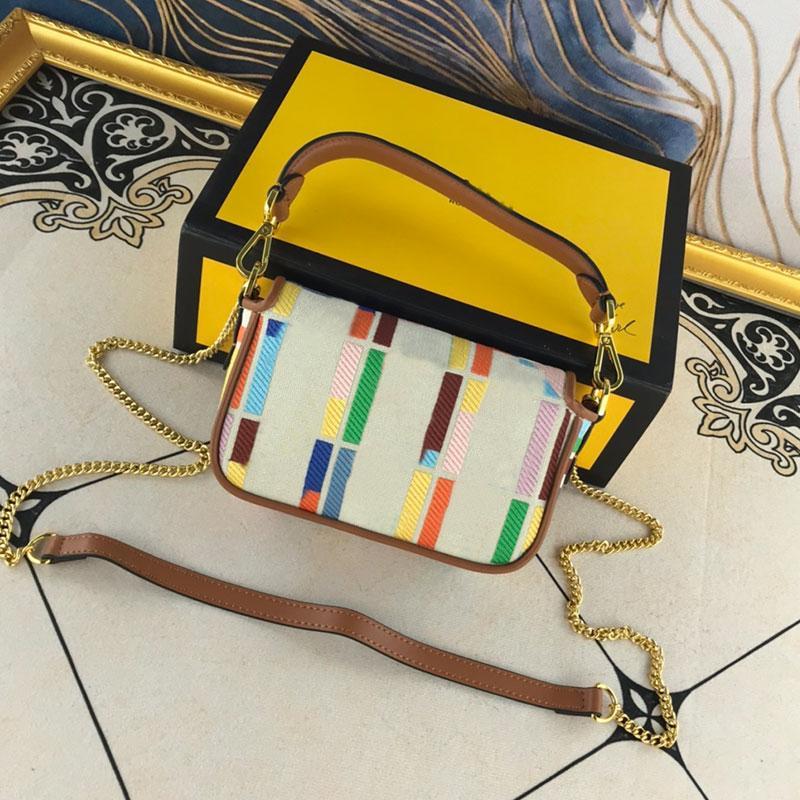 Çanta Bayanlar Çanta Küçük Zincir Crossbody Kadın Nakış Kayışı Omuz Retro Cüzdan Sopa Renkli Çanta MhHab