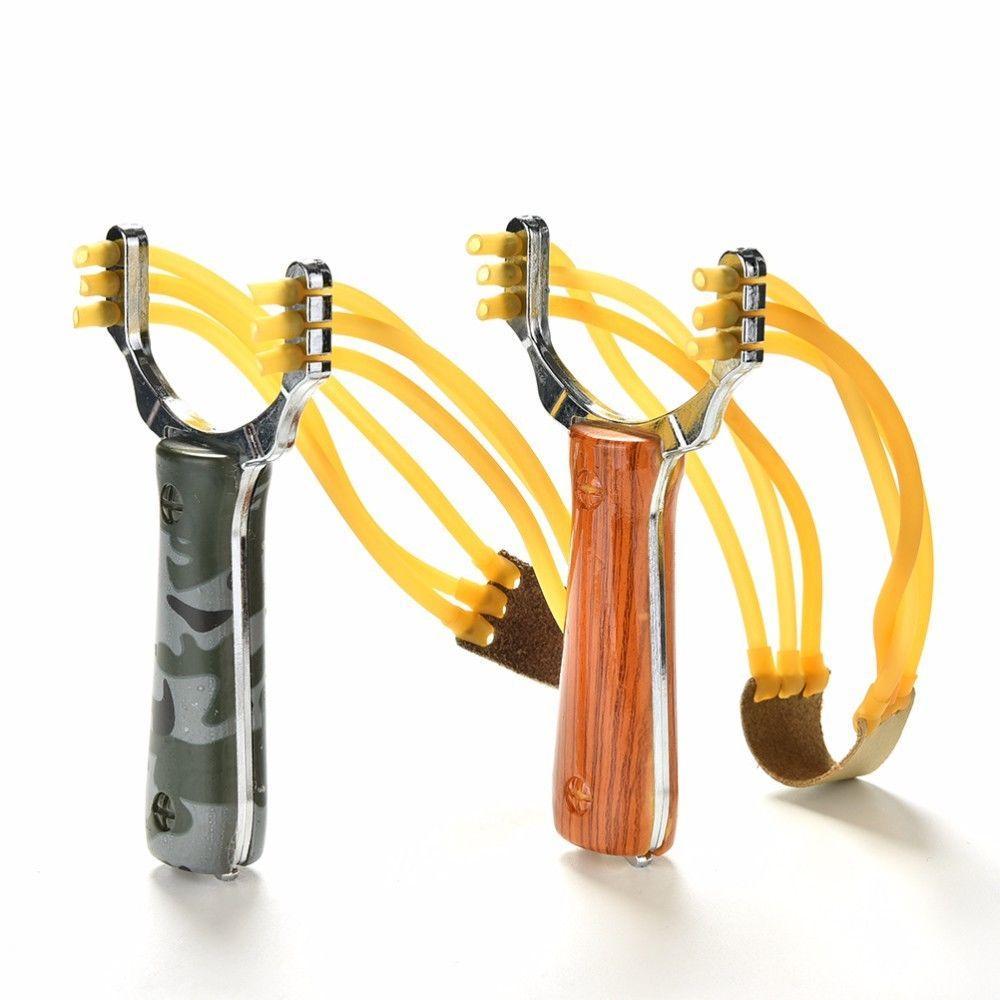 강력한 슬링 샷 알루미늄 합금과 나무 새총 위장 활 투석기 야외 사냥 새총 사냥 액세서리