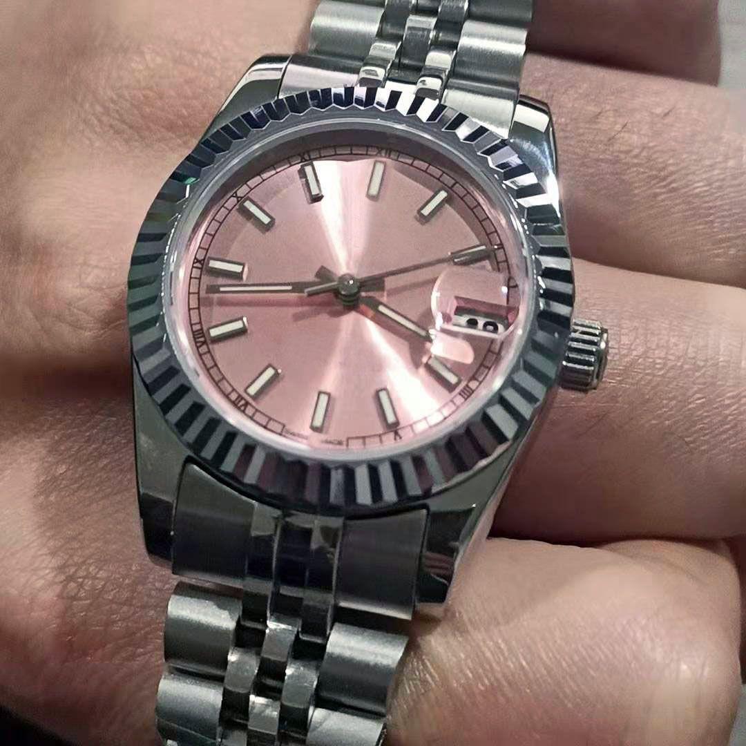 여성 여성 31mm 시계 시계 사파이어 다이아몬드 아이스 스포츠 스테인레스 스틸 자동 시계 운동 기계적 손목 시계