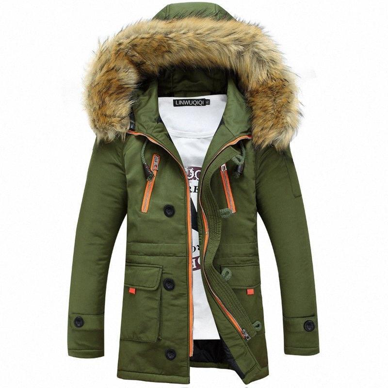 Engrosamiento Parkas hombres abrigos de invierno de 2019 prendas de vestir exteriores masculino cuello de la piel de los hombres ocasionales de la chaqueta de algodón largo Wadded hombres de la capa con capucha Y200107 28cg #