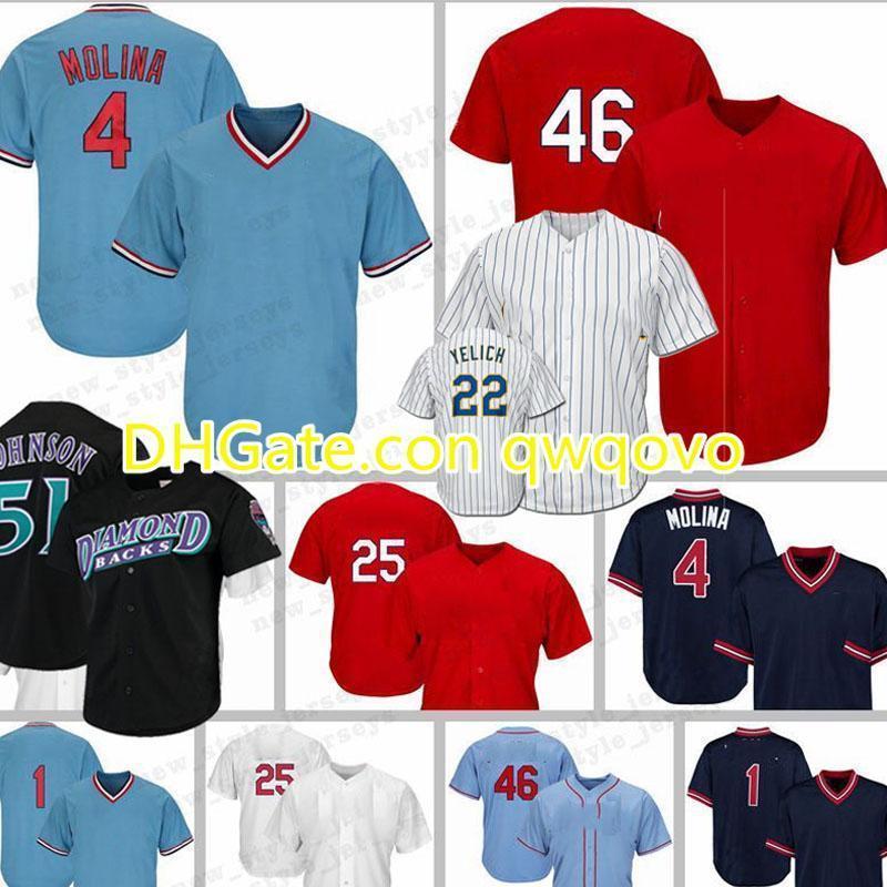 NCAA ChristianYelich Ozzie 51 RandyJohnson 4 Yadier.Molina Smith 25 Dexter Fowler 46 PaulGoldschmidt jerseys de beisebol.