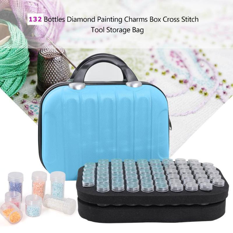 132 garrafas diamante pintura caixa de armazenamento contêiner bordado bordado bolsa de strass caso organizador diamante bordado ferramenta C0116