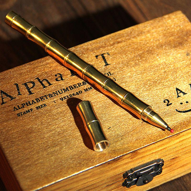 Design de forma de bambu bronze caneta esferográfica creative ball penas de papelaria puro cobre ballpoint canetas escritório escola material