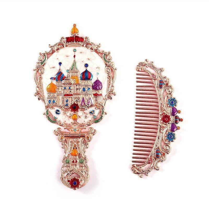 Peine de cosméticos Conjunto de maquillaje de maquillaje de espejo de mano con caja de espejos exquisitos plegables Estilo retro ruso JllQi Yummy_shop