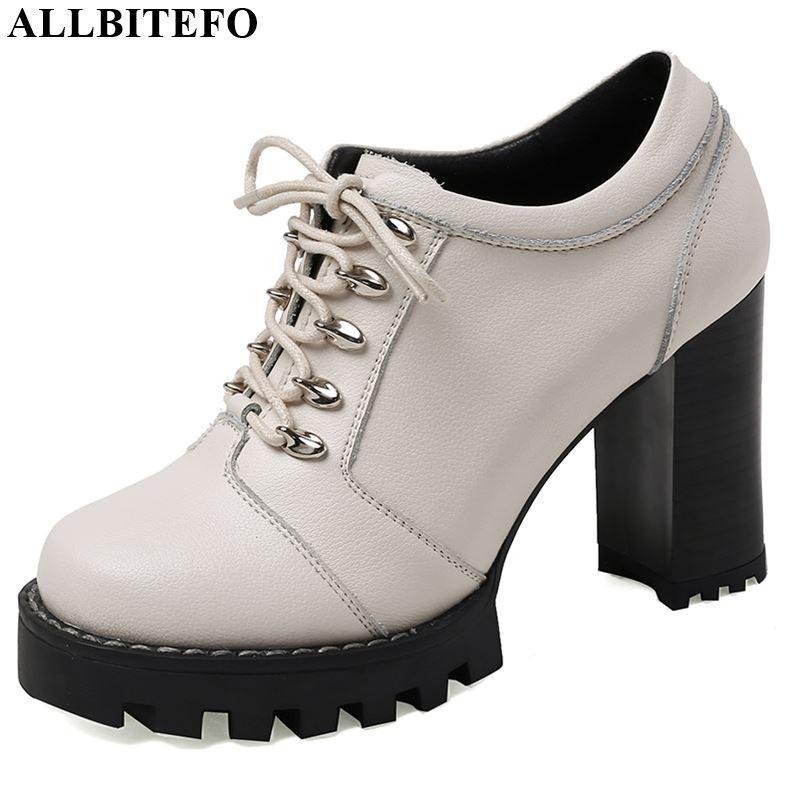 Zapatos de vestir Allbitefo Moda tacones tacones de cuero genuino completo Plataforma redonda Toe Tacón alto Primavera