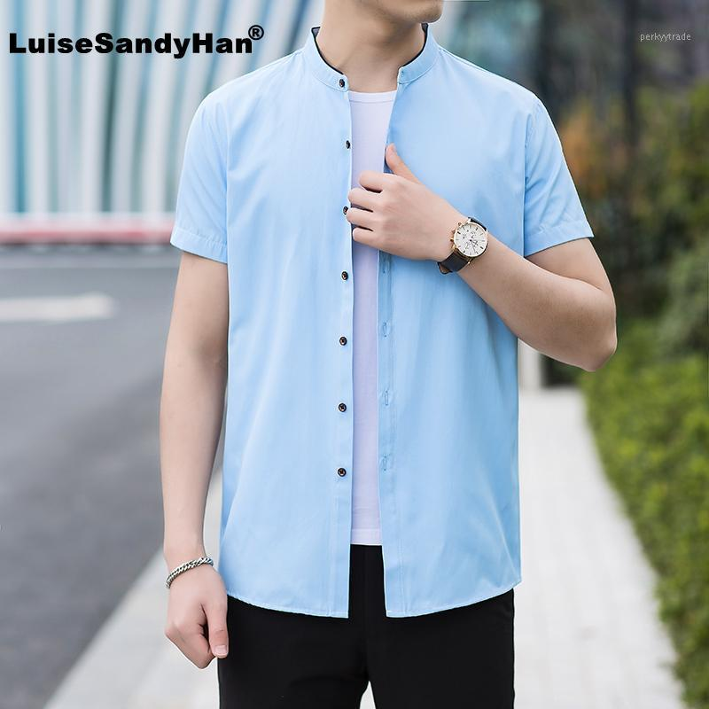 2020 Camicia da uomo in stile cinese primavera estate mandarino collare manica corta camicia cotone cotone business camicie casual camisa1