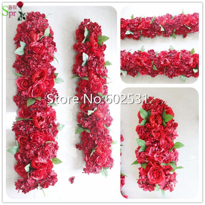 Spr vermelha do casamento do casamento do casamento do corredor da flor do corredor do cenário da parede do corredor Decorativo Wholesale da tabela da flor da flor da flor 10 pçs / lote
