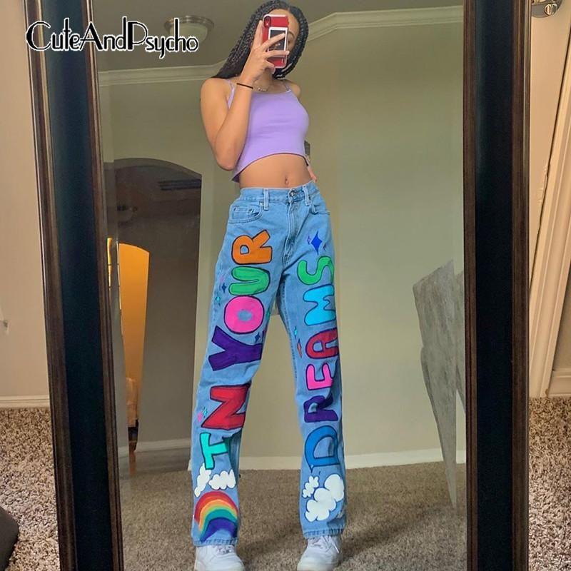 Урожай Письмо печатных Y2K мешковатые джинсы для женщин Streetwear высокой талией Wide Leg брюки Harajuku Джинсовые брюки Cuteandpsycho