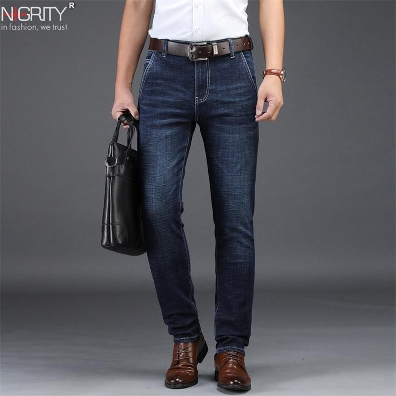 Nigrity Mens Jeans Business Casual Coupe droite Black Blue Jeans Stretch Denim Pantalons Pantalons Classic plus grand taille 28-42 201105