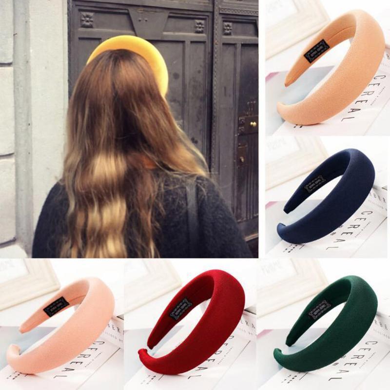 Accessori per capelli Spugna di moda Solid Hairband Donna Testa Head Hop Girls Fascia Bands Scrollies Chouchou Cheveux