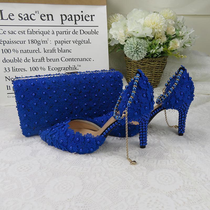 Royal Blue Lace Цветочные свадебные туфли с согласующими сумками Высоких каблуками Остроконечных Toe лодыжки ремень Дама партия обувь и набором мешка