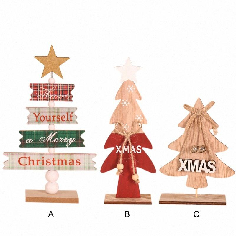 Wood Christmas Tree Ornament Decorative Holiday Party Table Decorations 5aei#