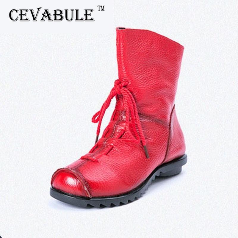 Cevabule de couro genuíno feito à mão de inverno mulheres ocidentais redondas botas de pé sapatos mulher .zxw-1806 201124