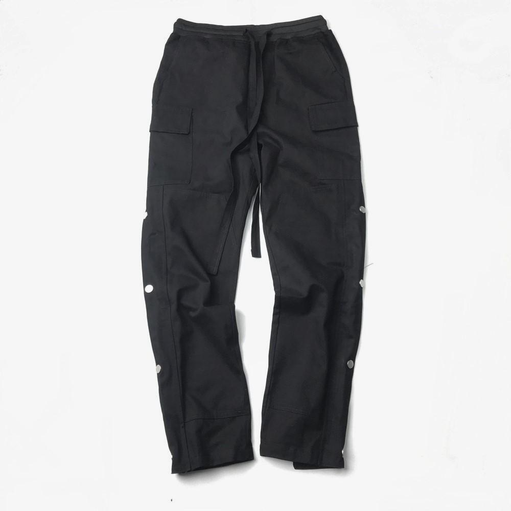 Мужчины Черного Twill Хлопок штаны Hip Hop Slim Fit Belted Waistband Jogger Осень Streetwear