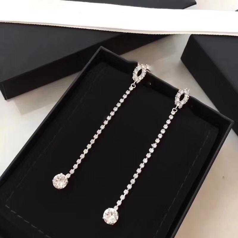 Hot selling designer Earrings classic double letter logo inlaid with Diamond Long tassel square Diamond Earrings L0-C20